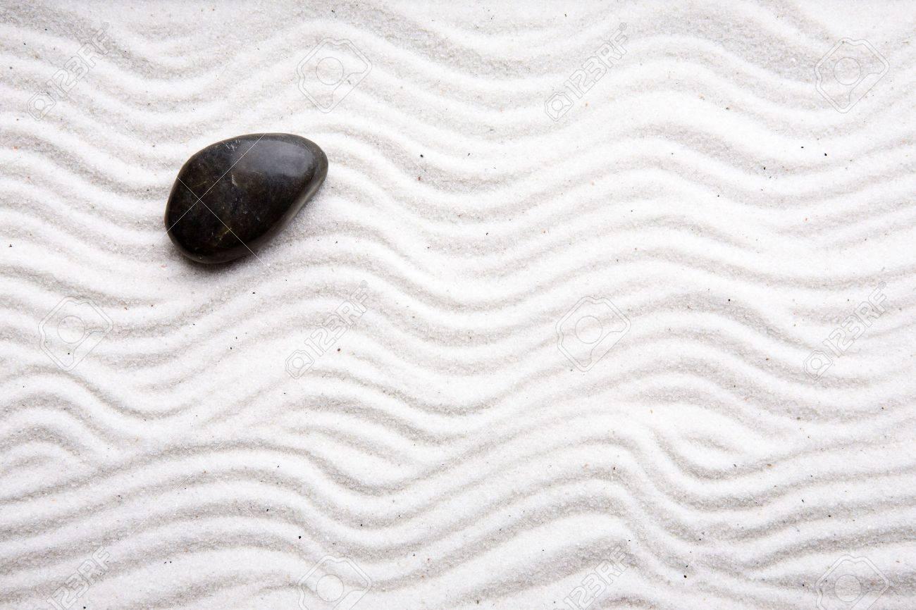 Japanese Rock Garden Japanese Zen Rock Garden With White Raked Sand Stock Photo