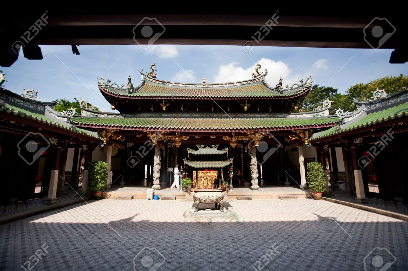 A Buddhist Temple Courtyard Asian Architecture Stock Photo
