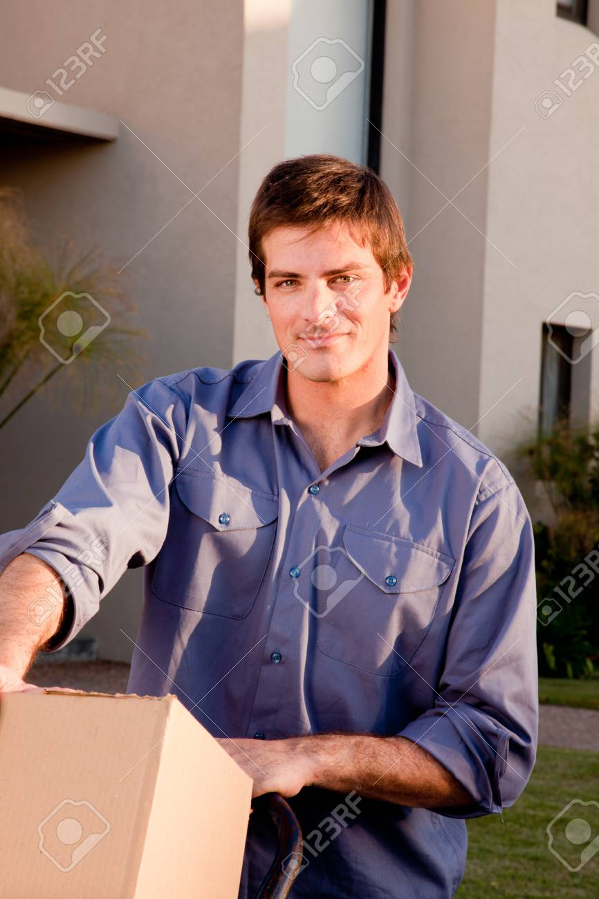 A portrait of a man with moving boxes on a trolly Stock Photo - 9600116