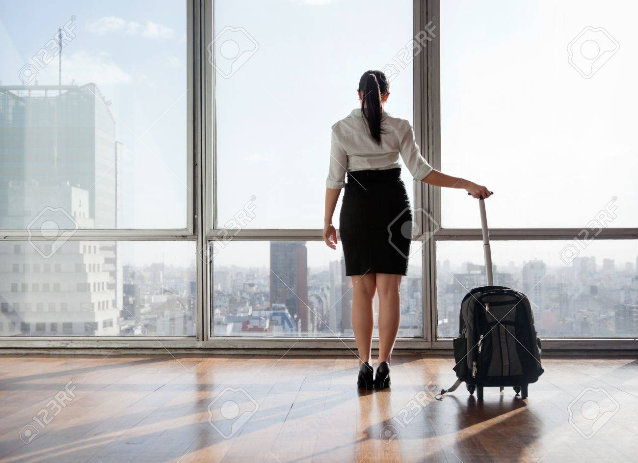 Rear view of business woman holding suitcase Stock Photo - 11538567