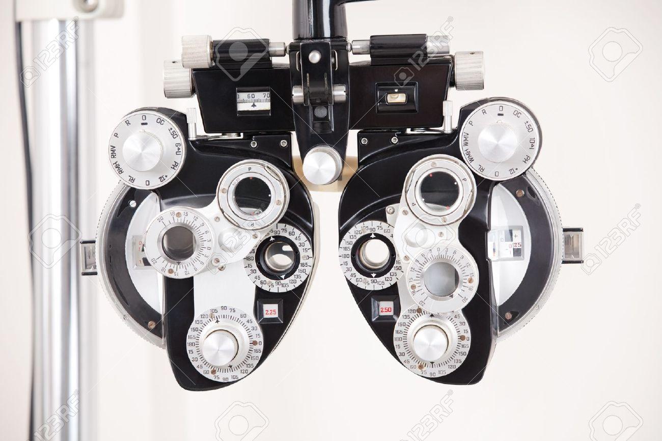 Close-up of eye exam equipment