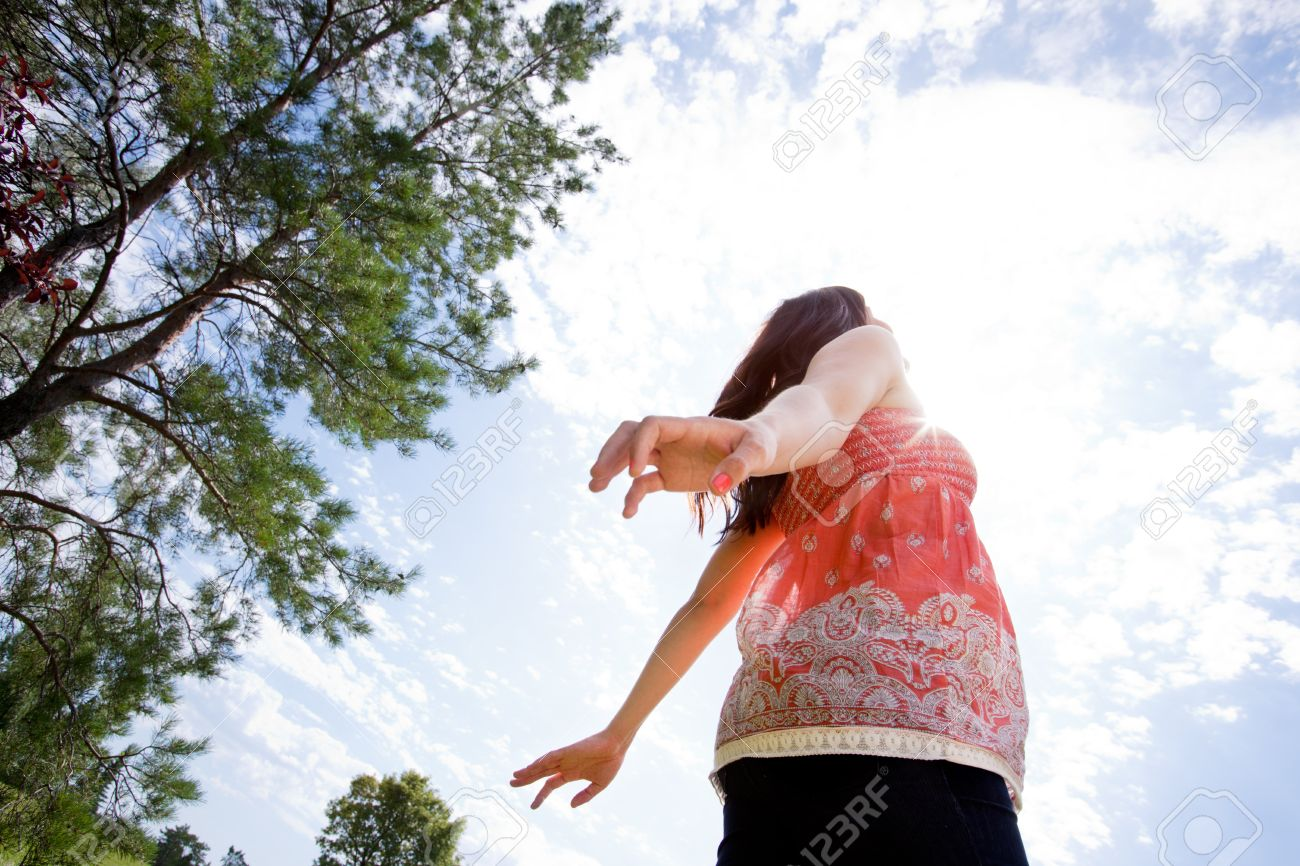 Happy pregnant woman with arms back looking into sky Stock Photo - 15347785