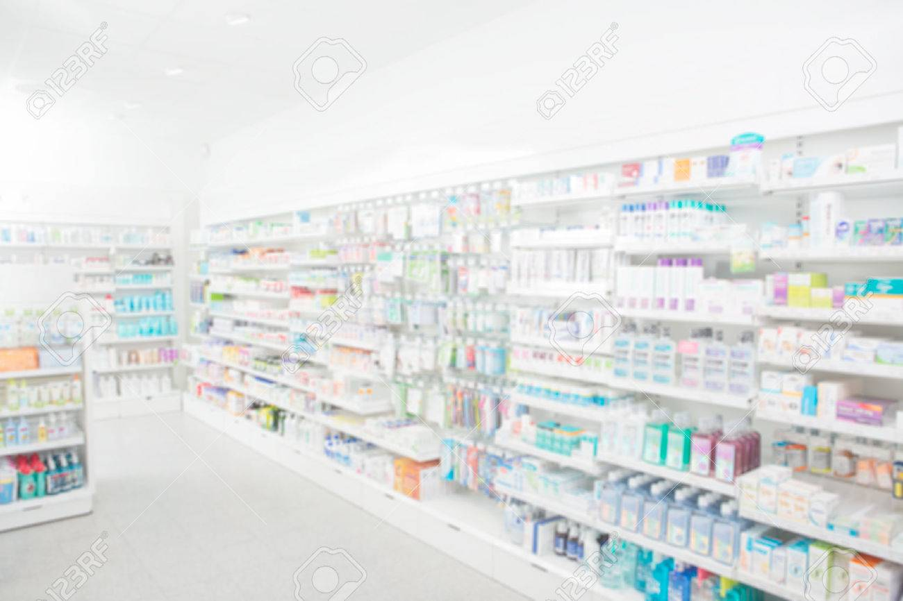 Pharmacy interior with blurred background - 43432454