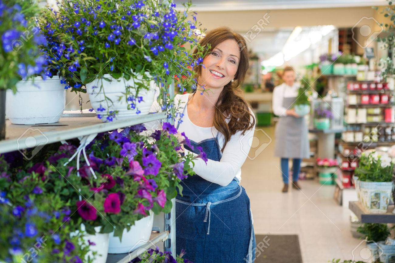 Portrait of smiling mid adult florist pushing flower shelves in shop Standard-Bild - 46404380