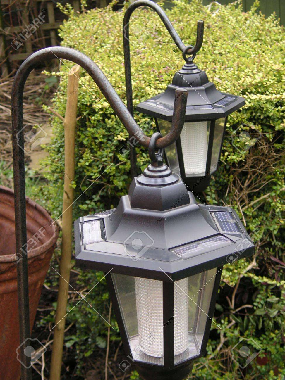 Solar Powered Garden Lighting On Hooks Stock Photo Picture And Royalty Free Image Image 336736
