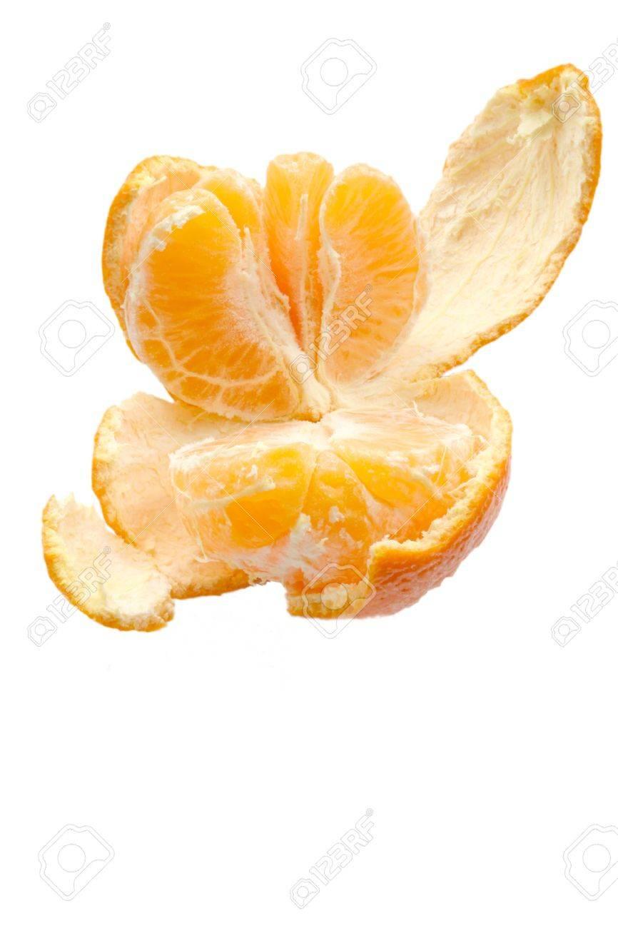 open peeled orange over white background Stock Photo - 795743
