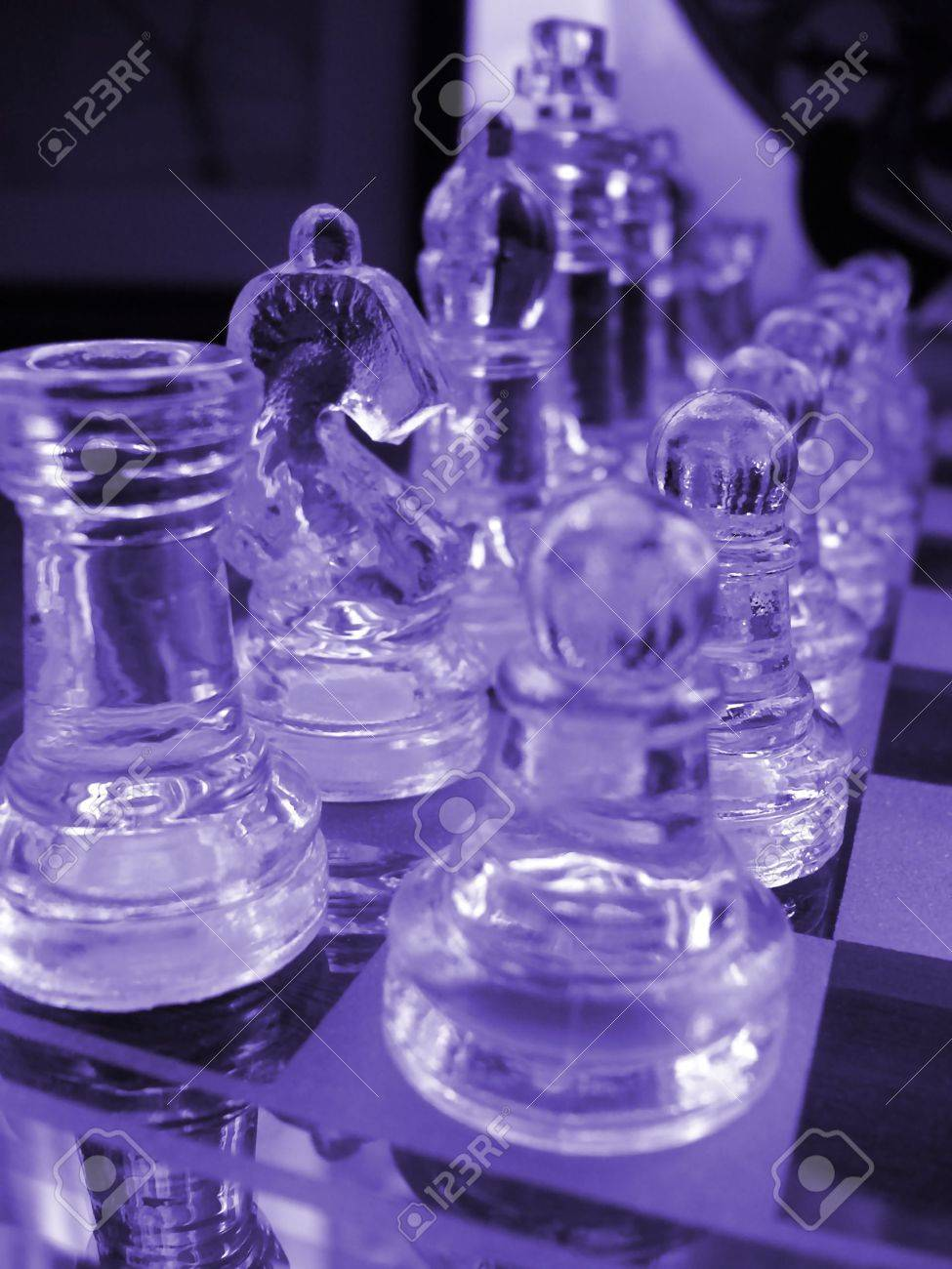 Glass Chess Set Game With A Engraved Playing Board Coloured Blue The Knight Is
