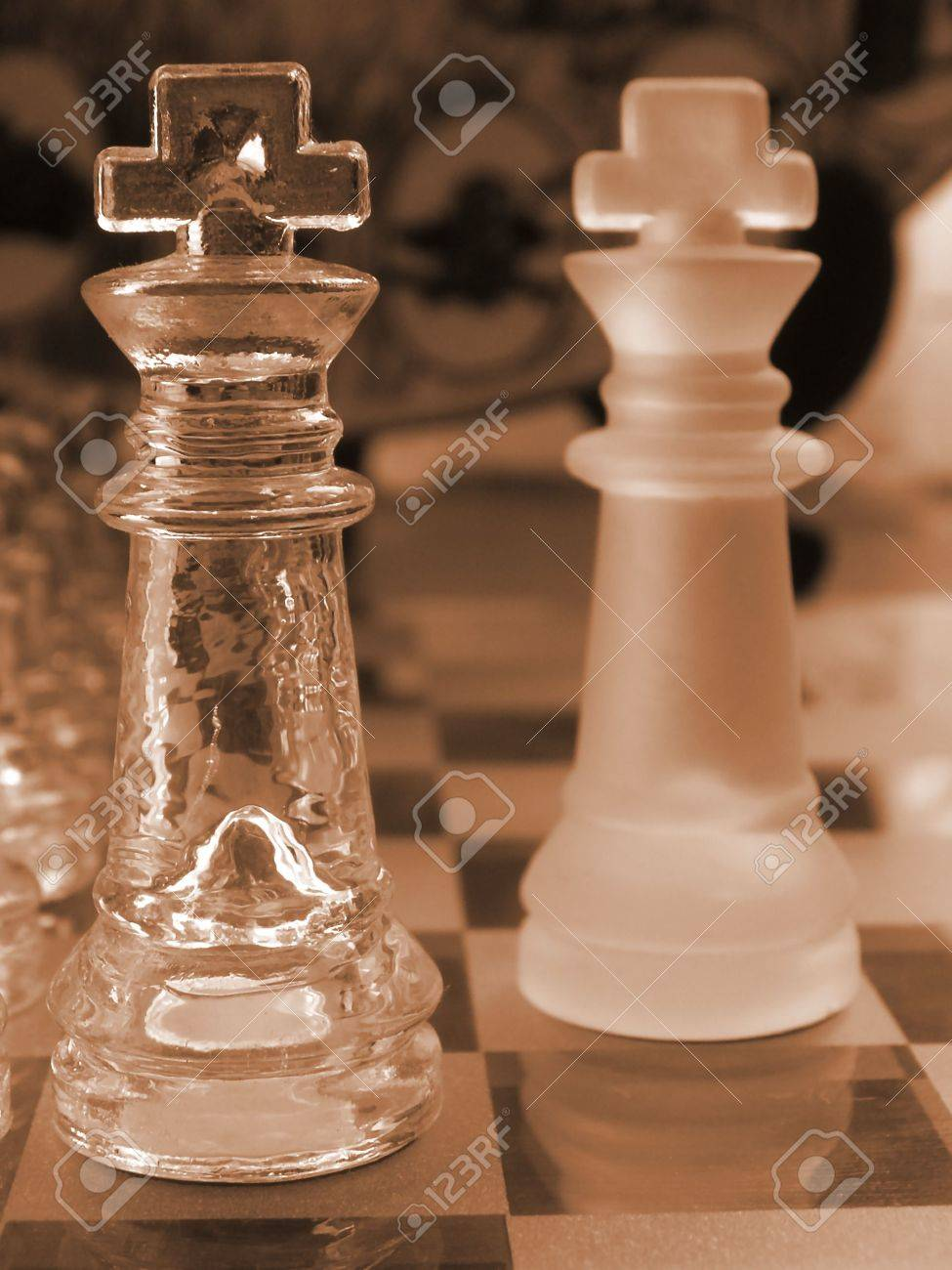 Glass Chess Set Game With A Engraved Playing Board Coloured Sepia The Clear King Is