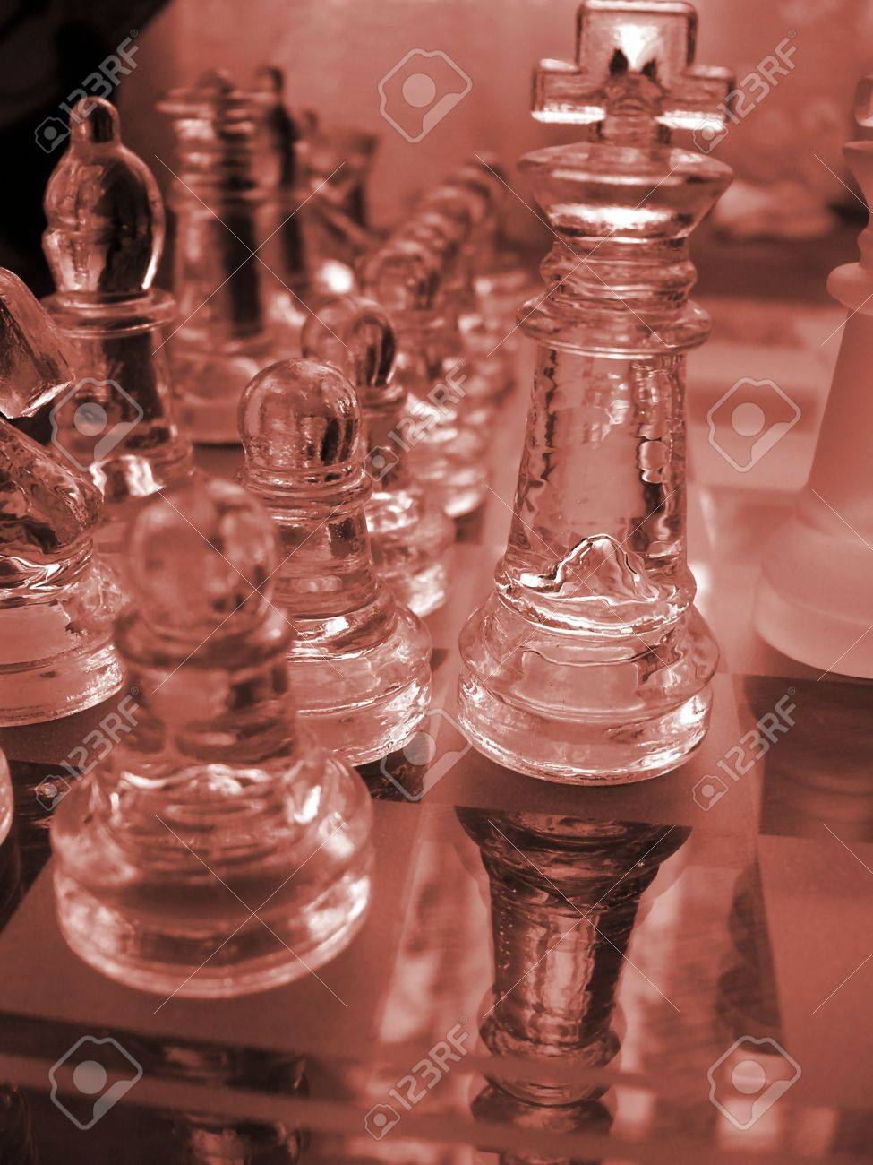 Glass Chess Set Game With A Engraved Playing Board Coloured Red The King Is