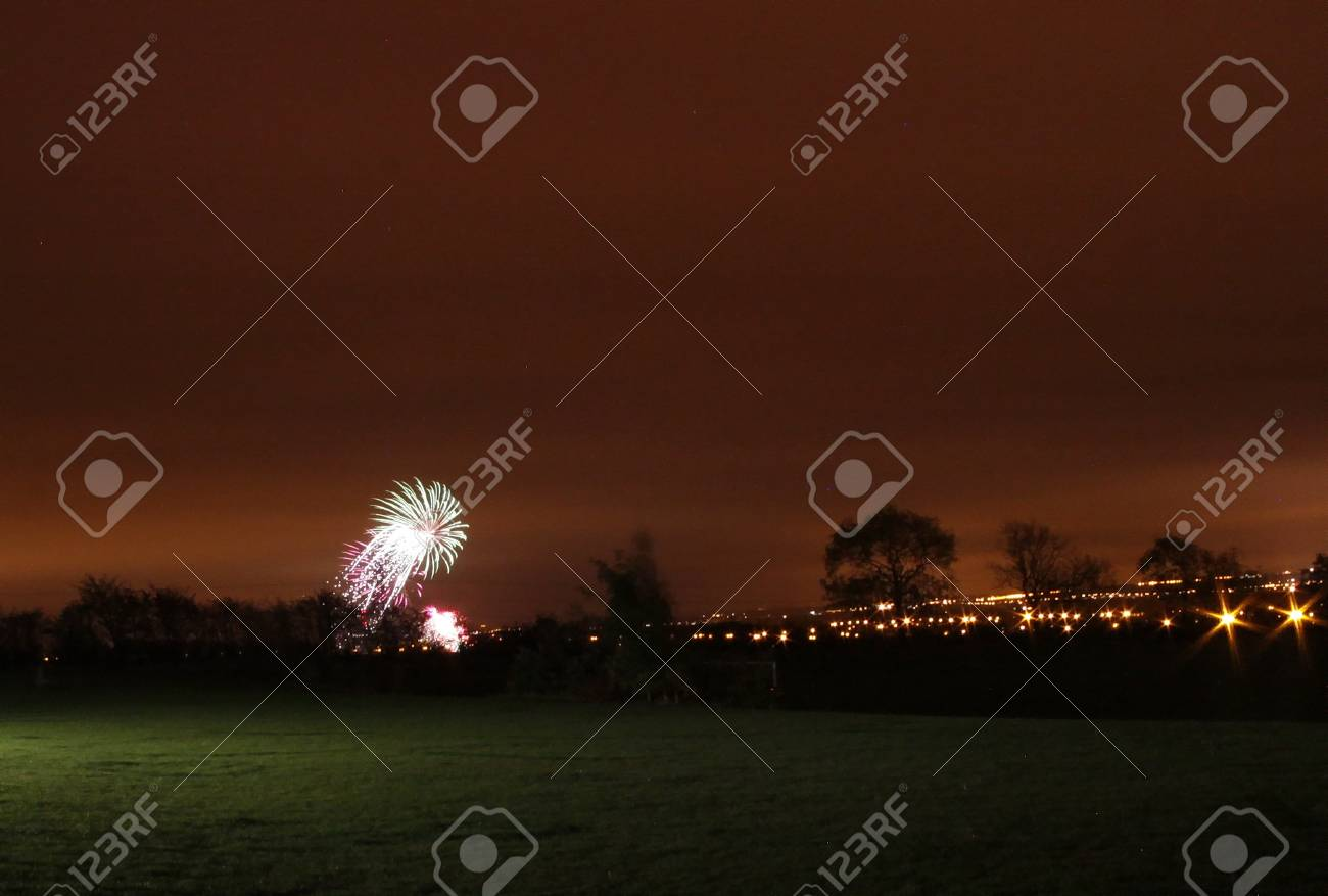 fantastic firework display of large colorful balls of light and color Stock Photo - 11090416