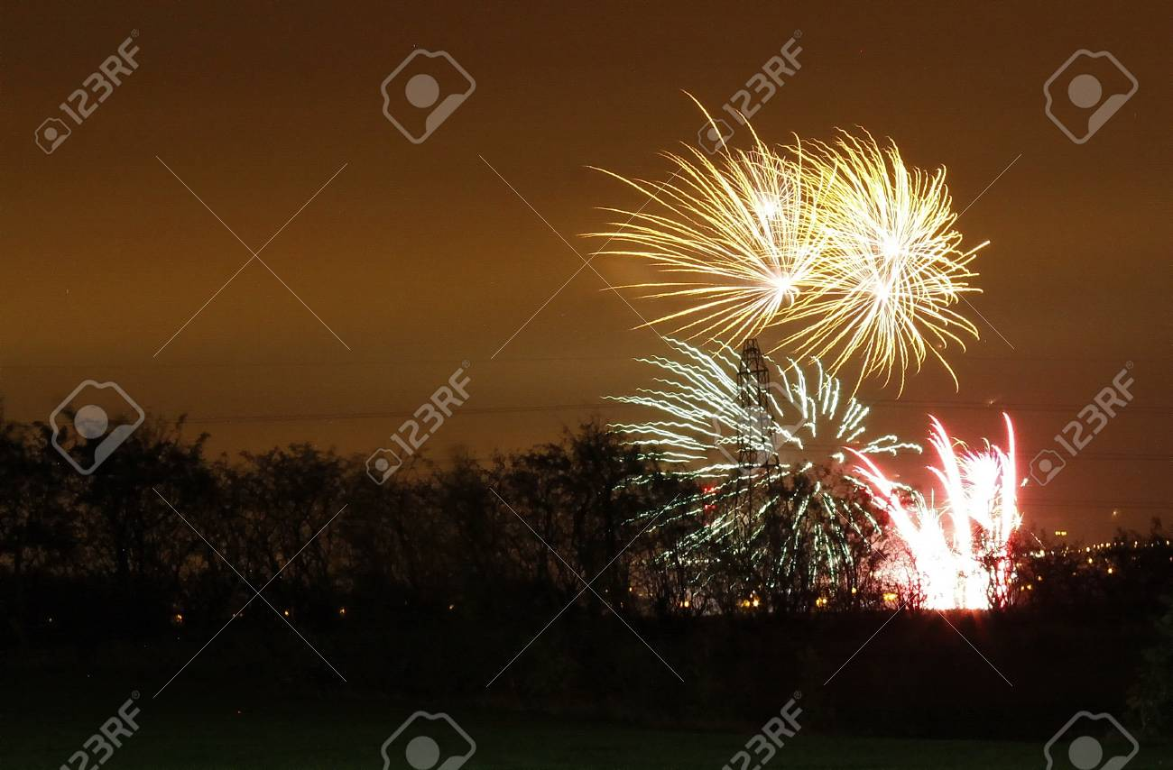 fantastic firework display of large colorful balls of light and color Stock Photo - 11090422