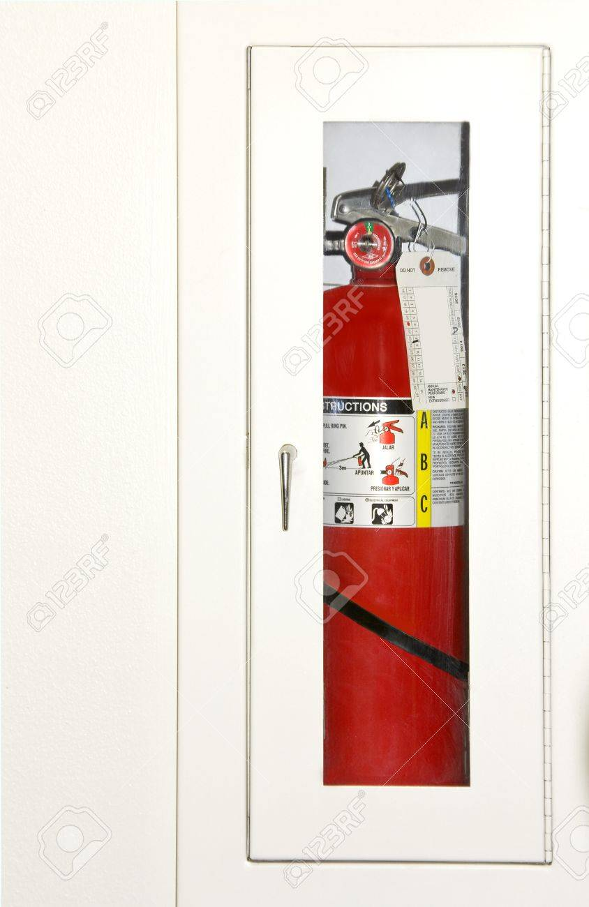 Fire Equipment Cabinet Protect From Fire Fire Extinguisher Visible Through A Glass