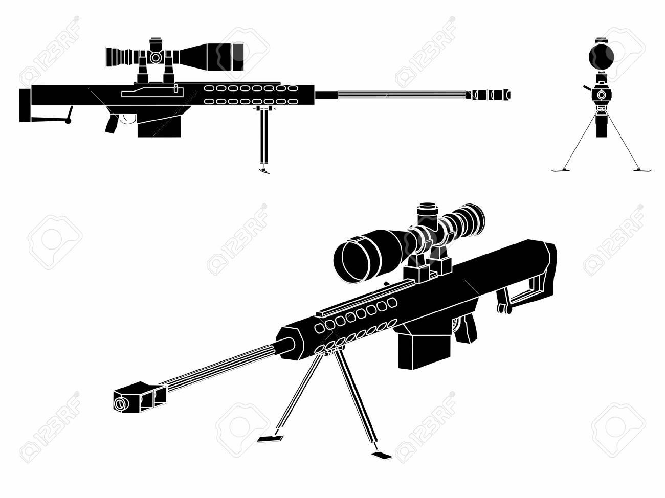 Sniper gun black fill - 105329380