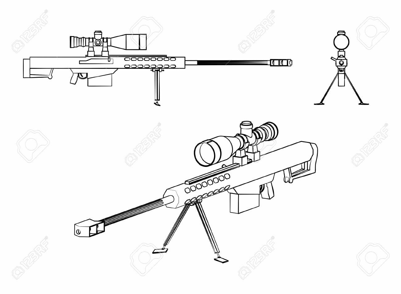 Sniper gun outline like brushstrokes - 105329402