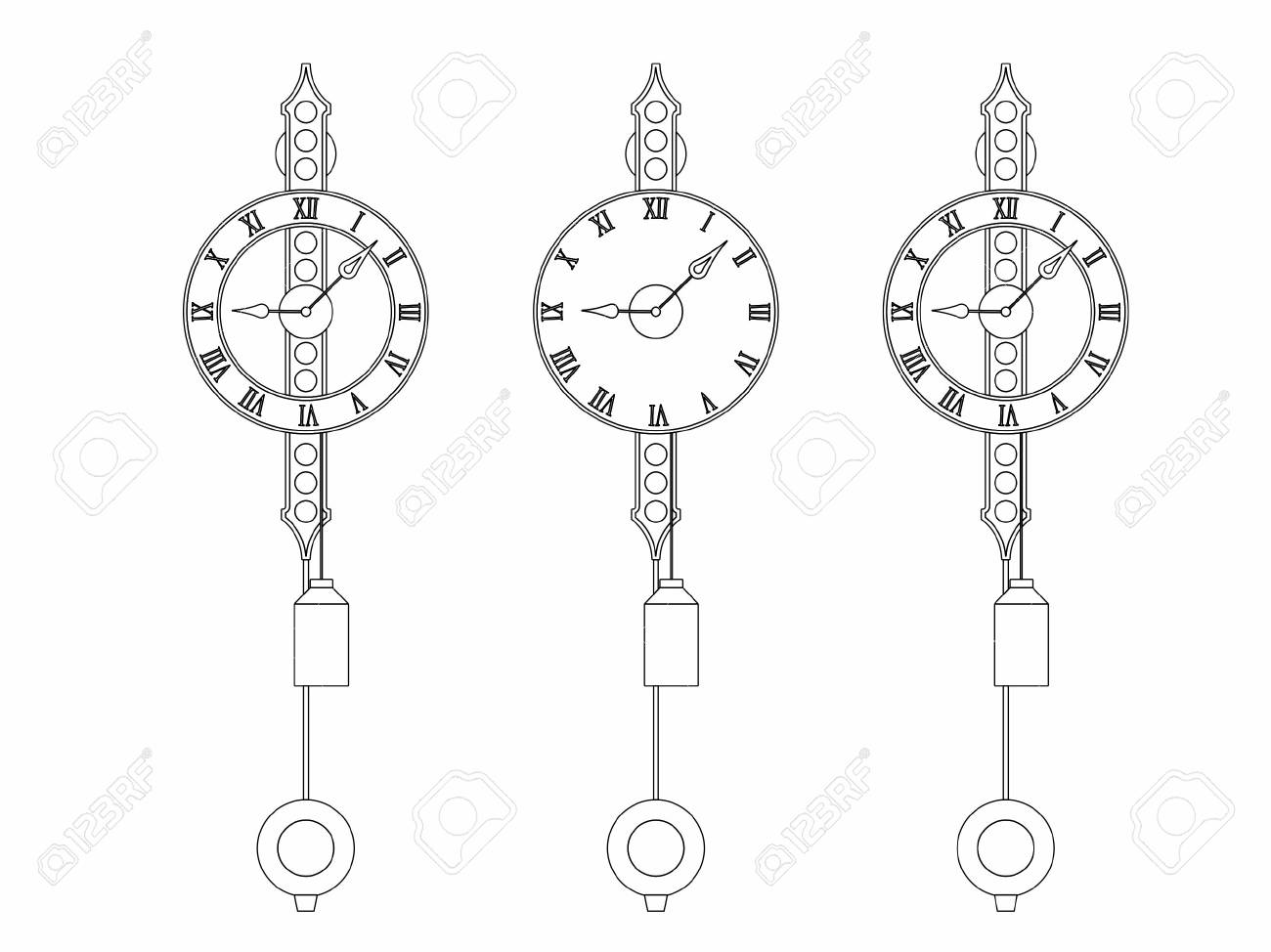 Wall Classic clock outline only - 105442761