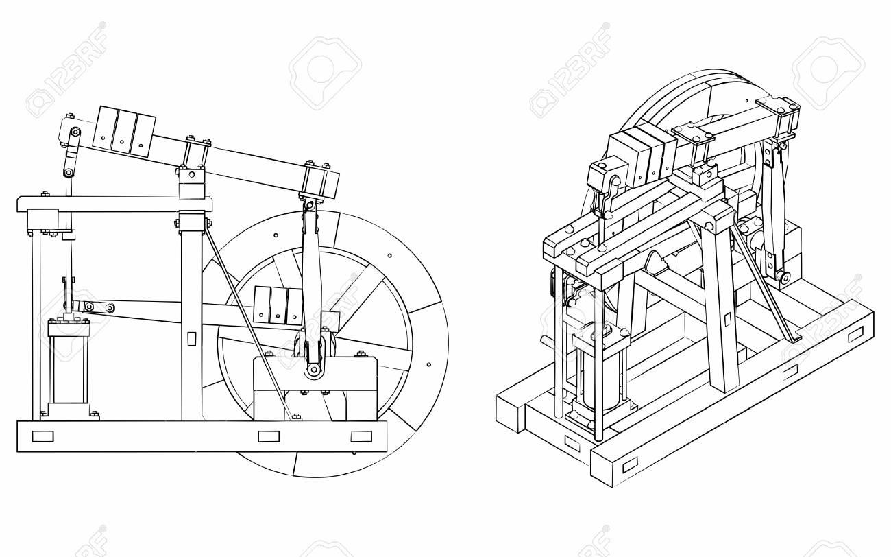 Wood Beam Engine different outline like brushstrokes - 105624011