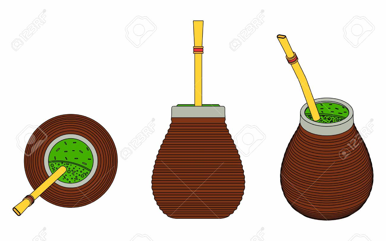 Cuia with Bombilia, water and Yerba mate for terere. Black outline. - 105624436