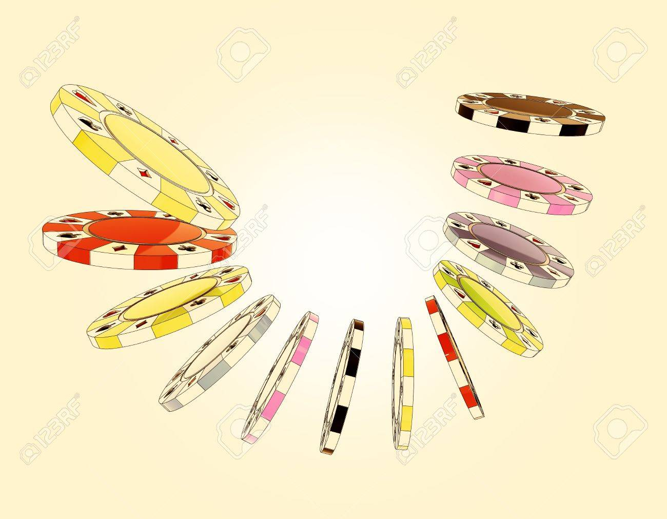 closeup focused on air composition couple black, yellow, green, violet, blue and red poker chips Stock Photo - 14659365