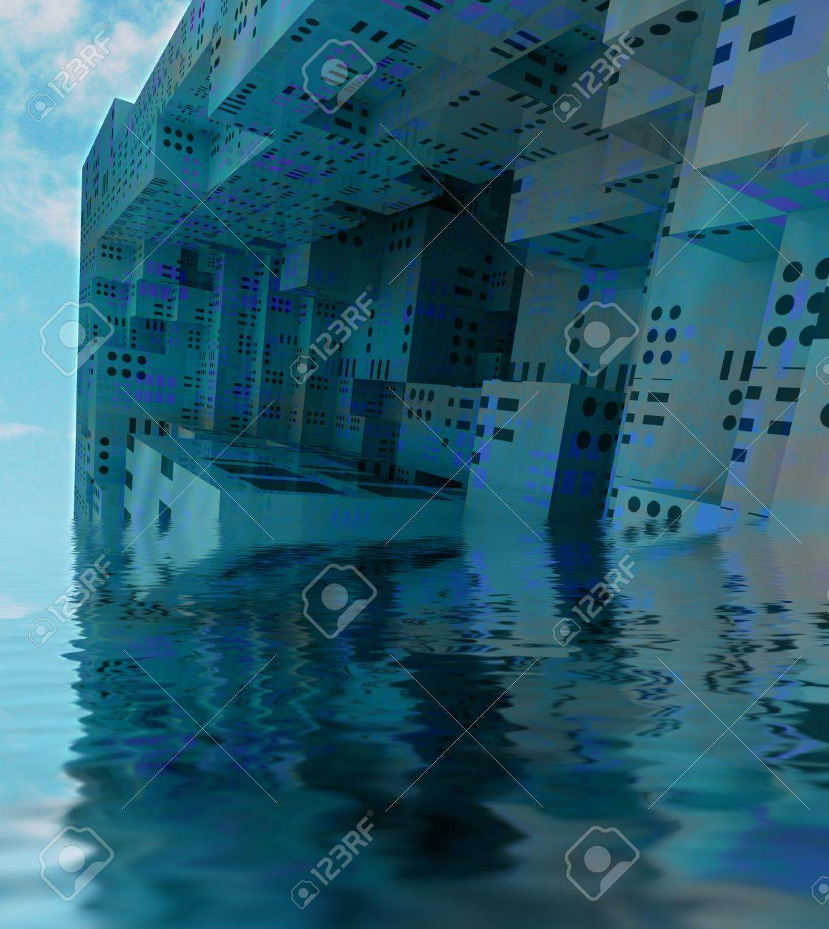 Sunked Modern City Observation Spaceship With Water Reflection Stock Photo Picture And Royalty Free Image Image