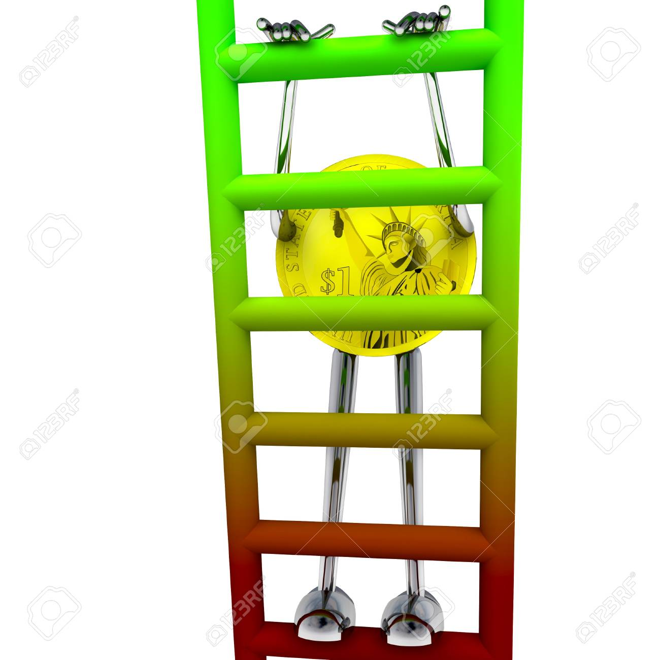dollar coin robot climbs up on red green ladder rendering illustration Stock Illustration - 15708762