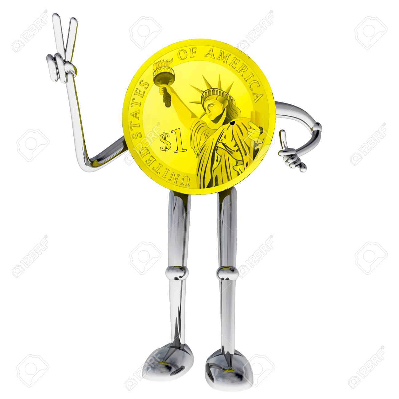 dollar coin robot victory showing hand illustration render Stock Illustration - 15708764