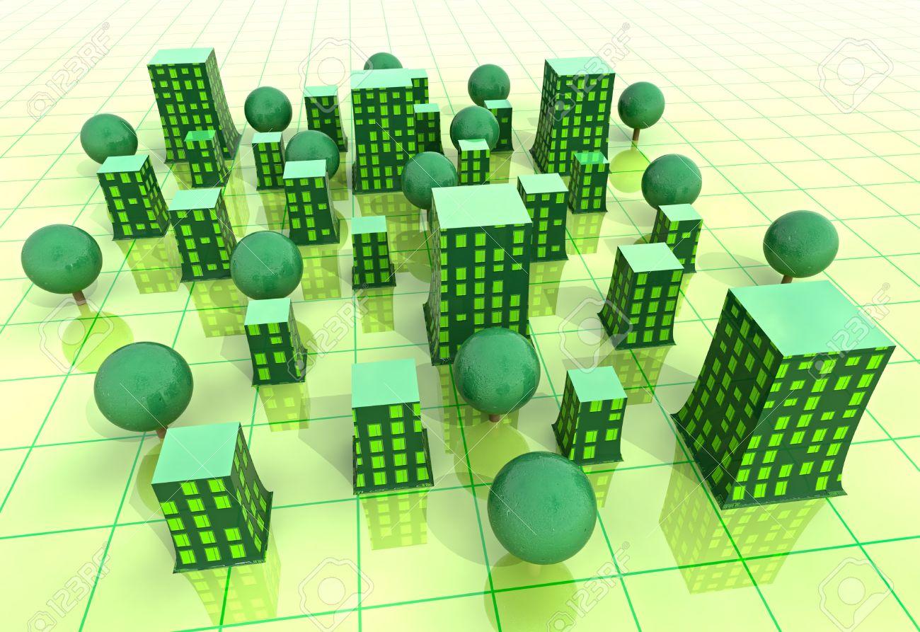beautiful super modern green sustainable city grid development background illustration Stock Illustration - 15708843