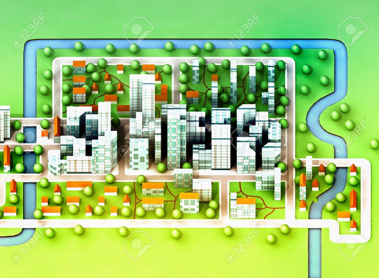 landscape top view on new sustainable city concept development illustration perspective render illustration Stock Illustration - 15709787