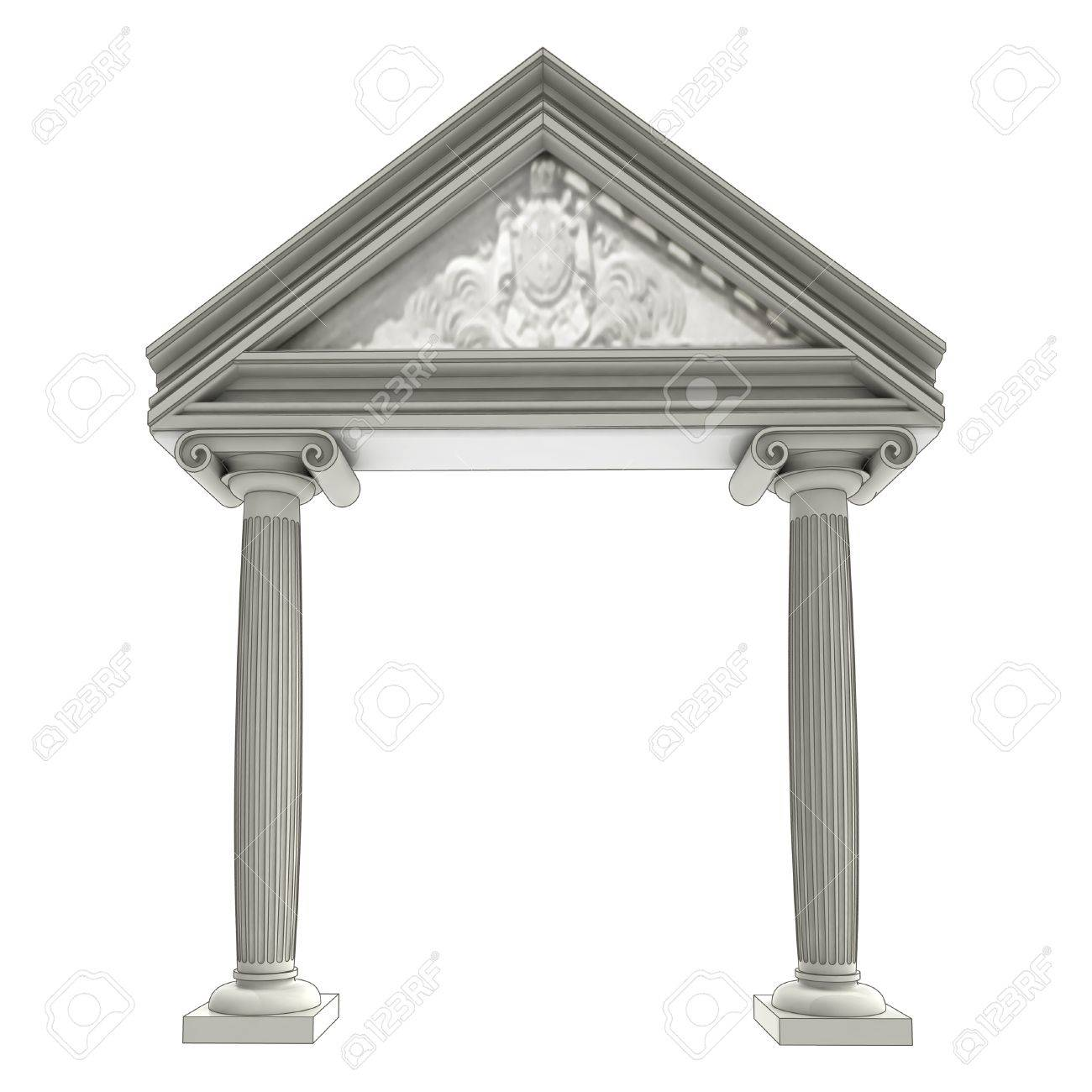 Isolated Ancient Ionic Column Gate With Architrave Above Illustration Stock Photo
