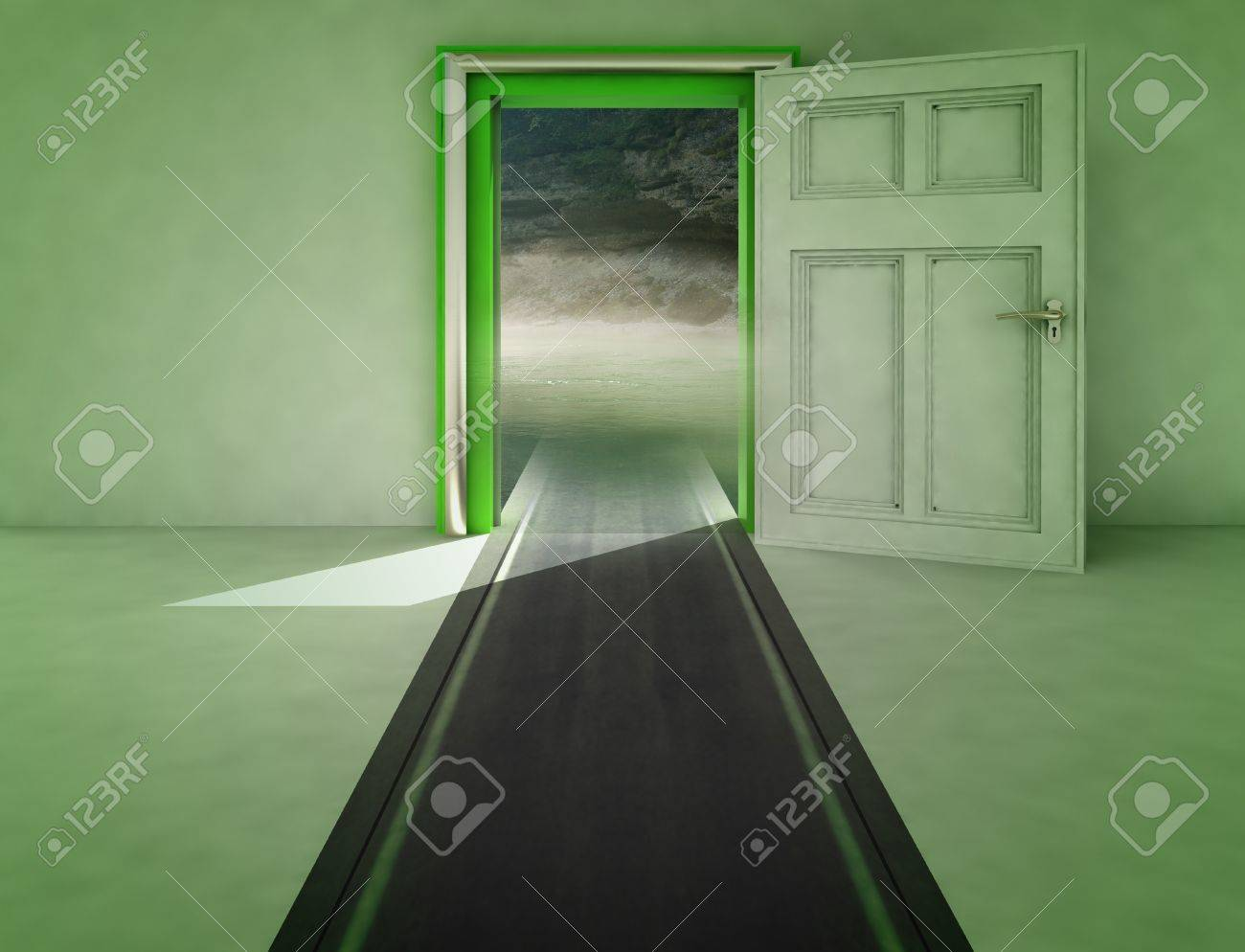 open door with highway path to nature with shadow illustration Stock Photo - 15935916