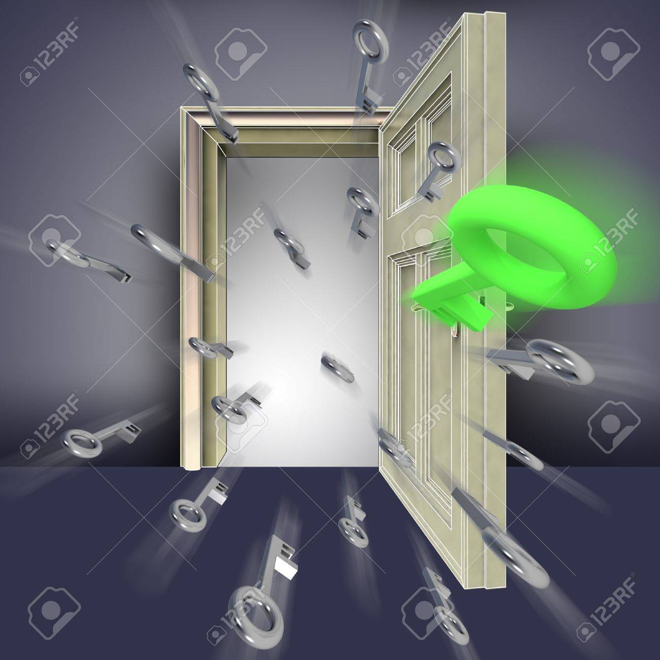 flying metallic keys opening door abstract blue concept illustration Stock Illustration - 15935917