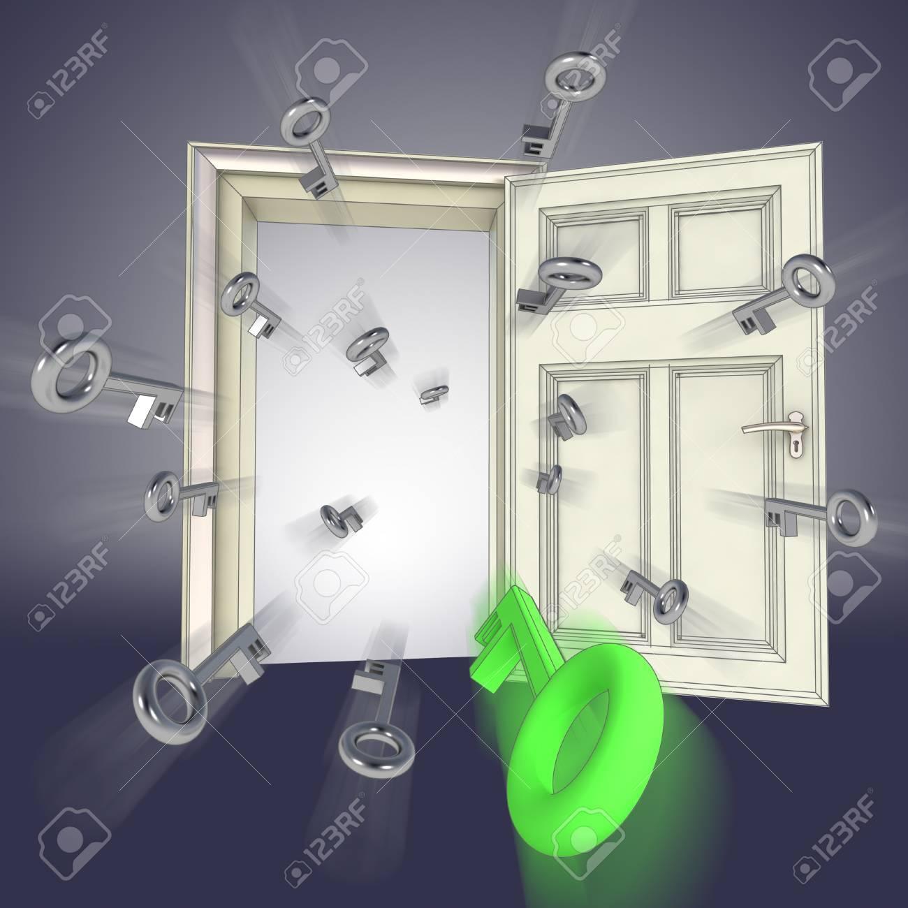 flying keys opening door abstract blue concept illustration Stock Illustration - 15935923