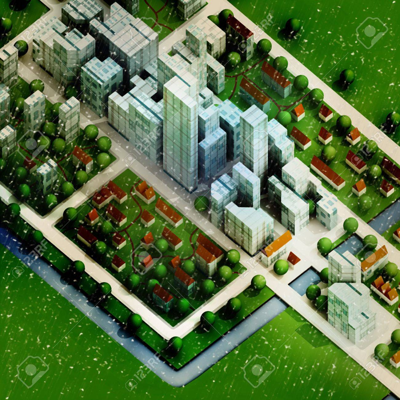 enviromantal new sustainable city winter concept development illustration perspective render illustration Stock Photo - 16157600