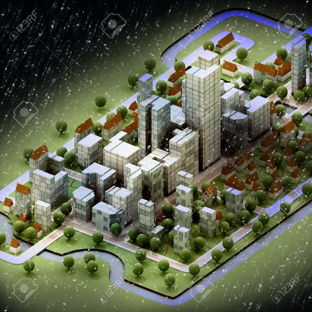 landscape of new sustainable city wintertime concept development illustration perspective render illustration Stock Illustration - 16157374