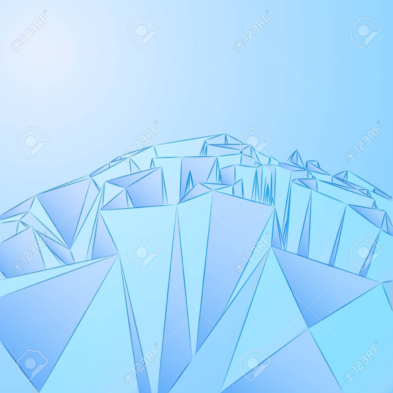 three dimensional crystal blue card vector template Stock Vector - 16157635