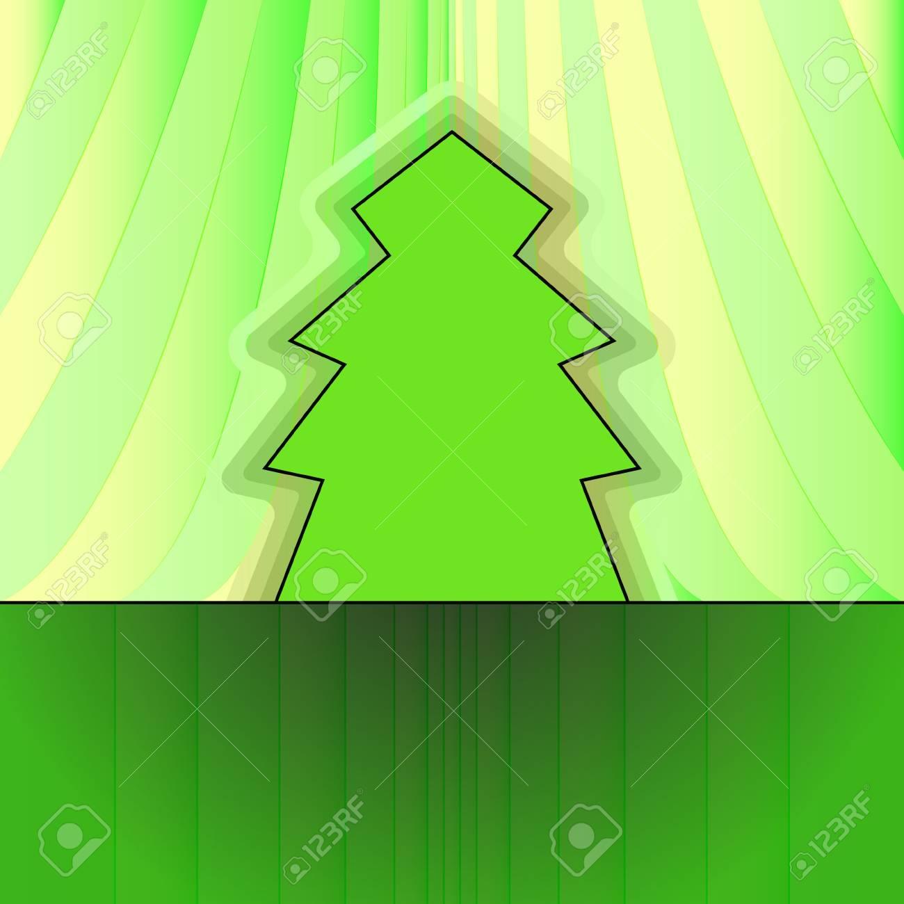 classic shape designed tree on green curtain christmas vector card Stock Vector - 16419993
