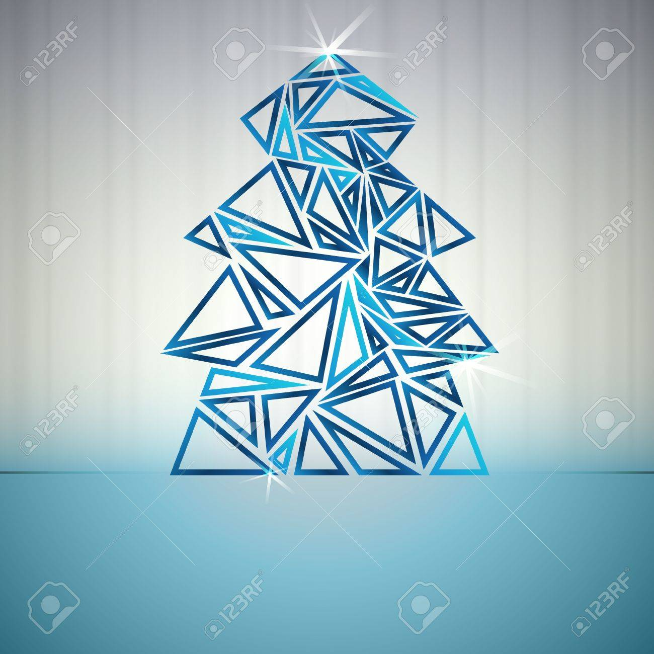 blue triangle outline christmas tree cluster vector card Stock Vector - 16420096