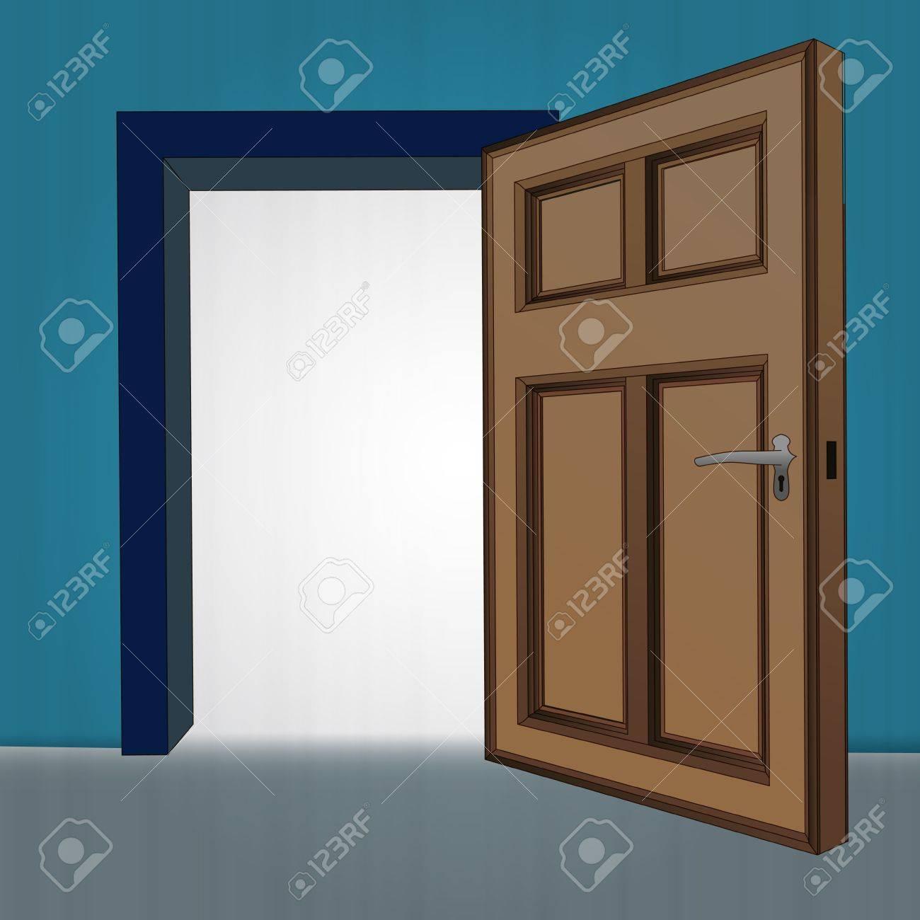 Geöffnete tür zeichnen  Holzeinlegeböden Offenen Tür Am Blauen Wand Darstellung Lizenzfrei ...