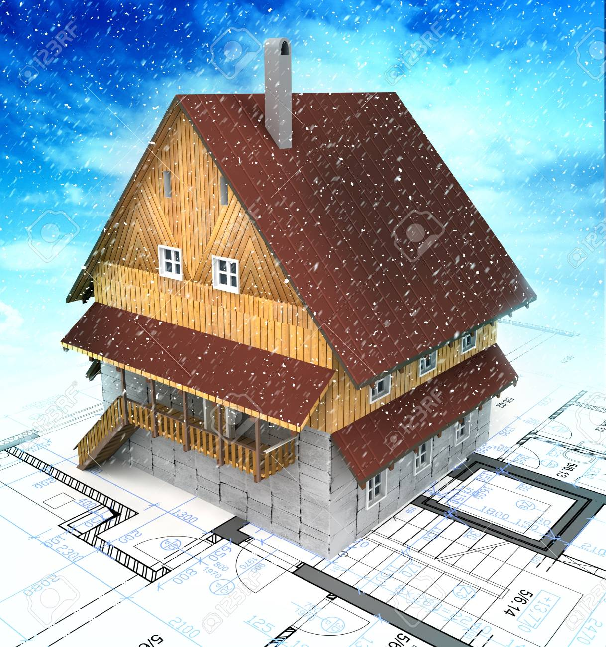 Mountain building house with layout plan at cloudys snowfall illustration Stock Photo - 17121067