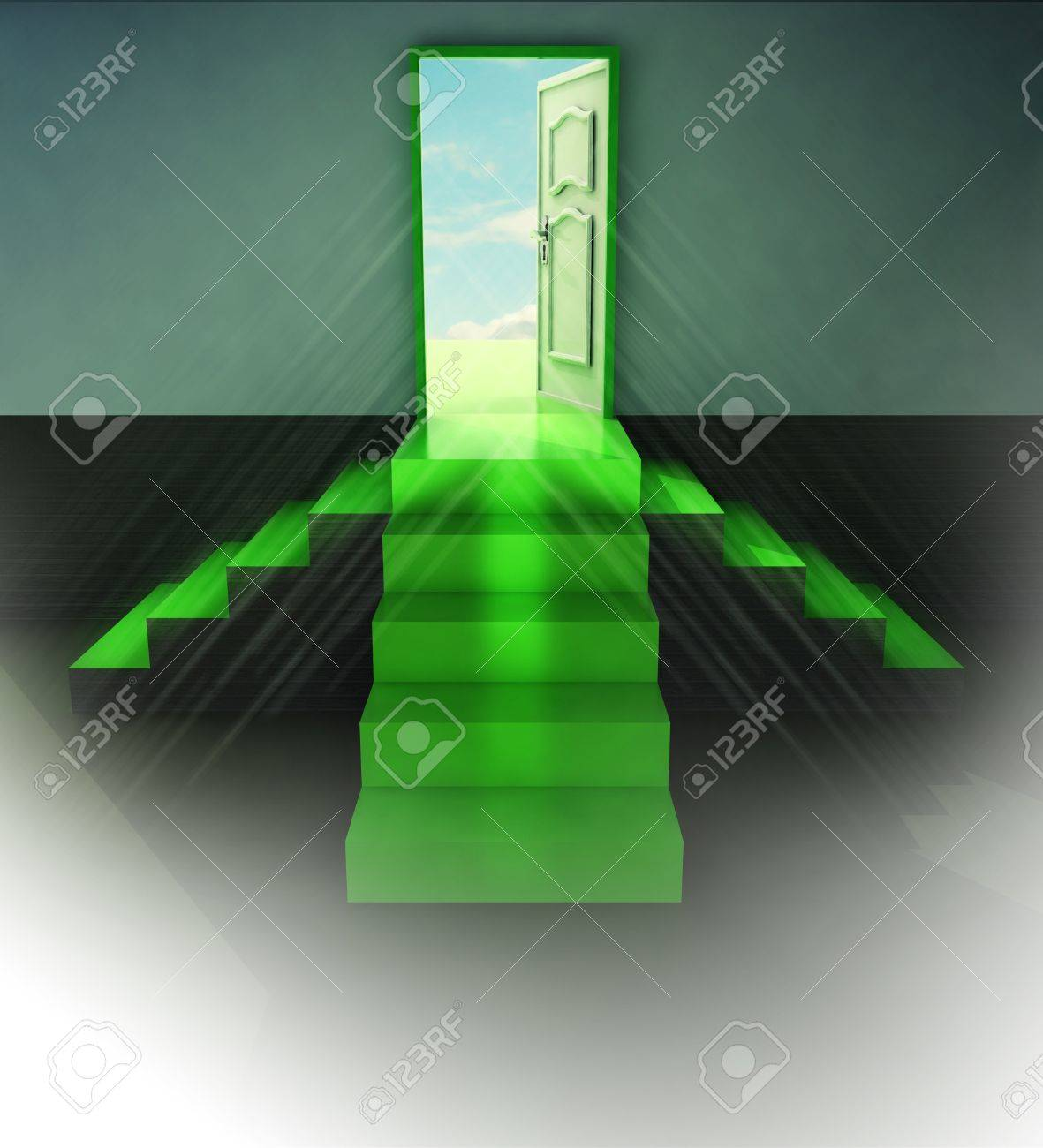 three green staircase doorway central view flare illustration Stock Illustration - 17351532