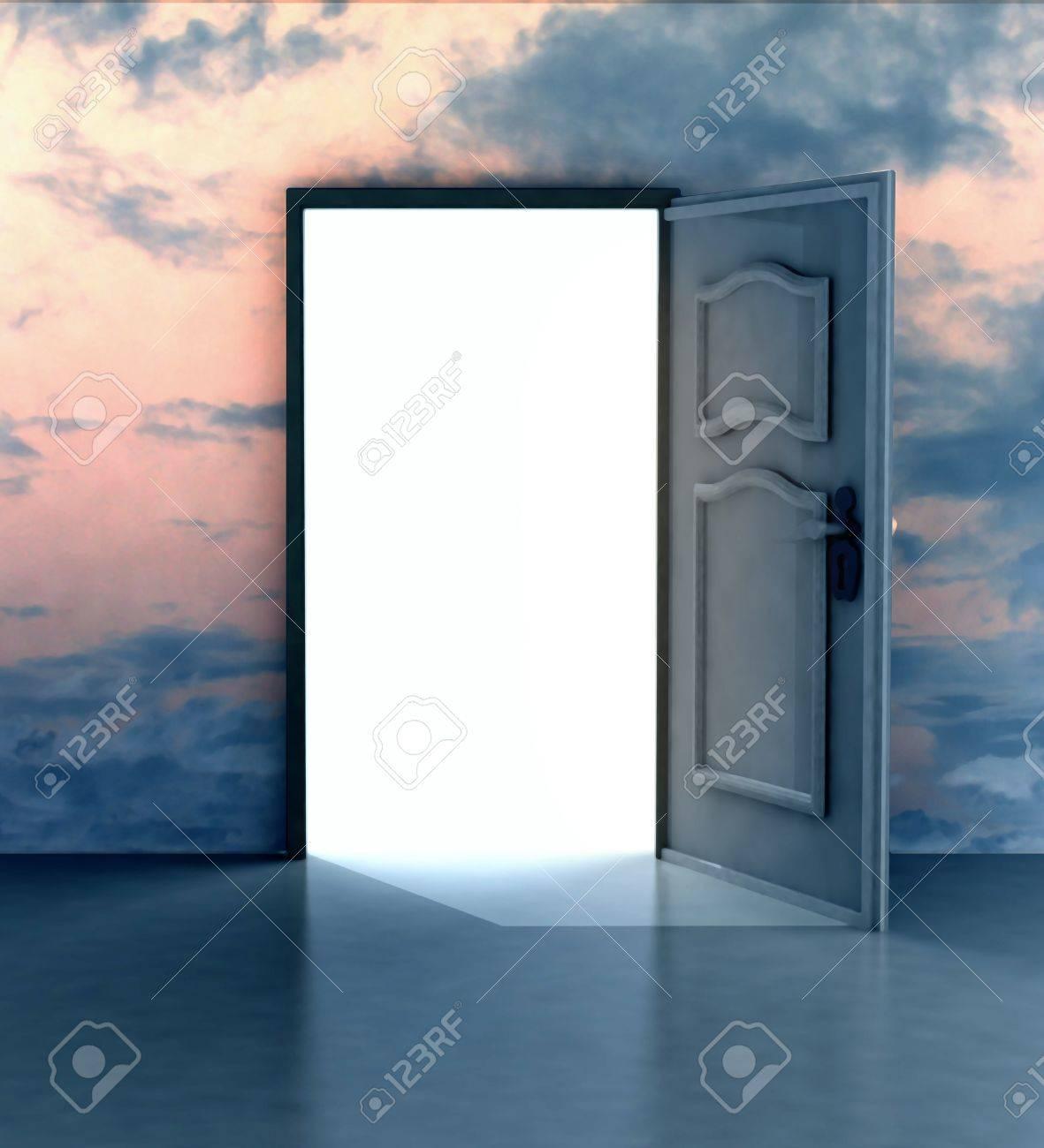 Opened door in sky heaven doorway illustration Stock Illustration - 17351503