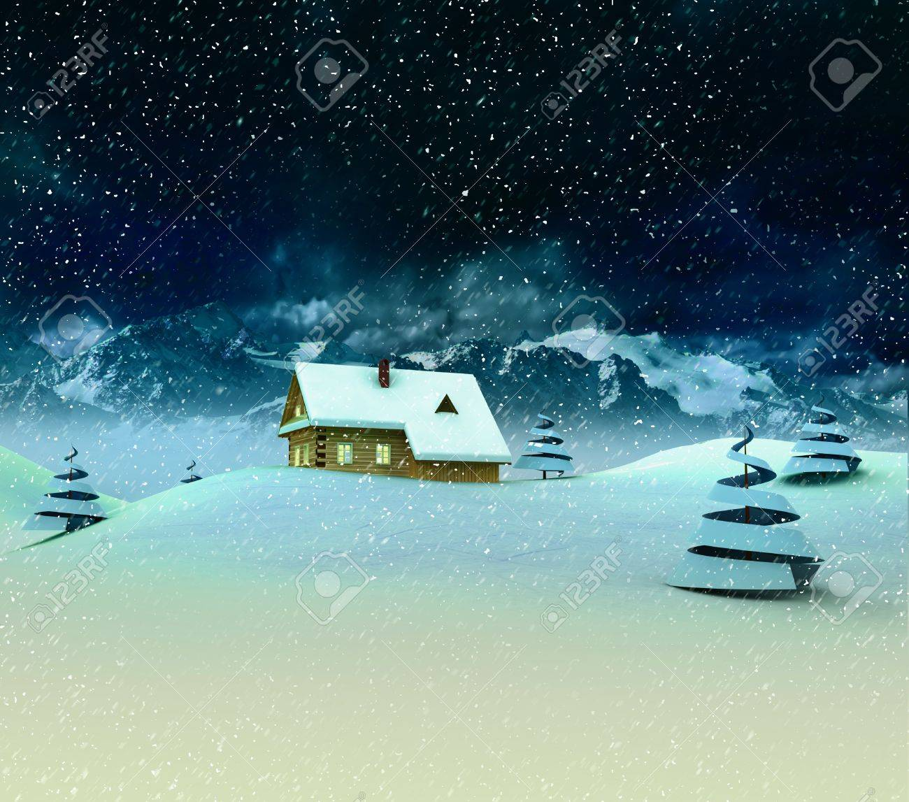 Lonely mountain hut with trees at winter snowfall illustration Stock Photo - 17351549