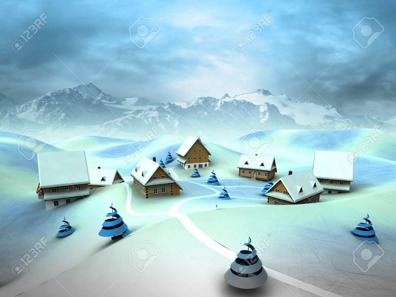 Winter village scene with high mountain landscape illustration Stock Photo - 17351547
