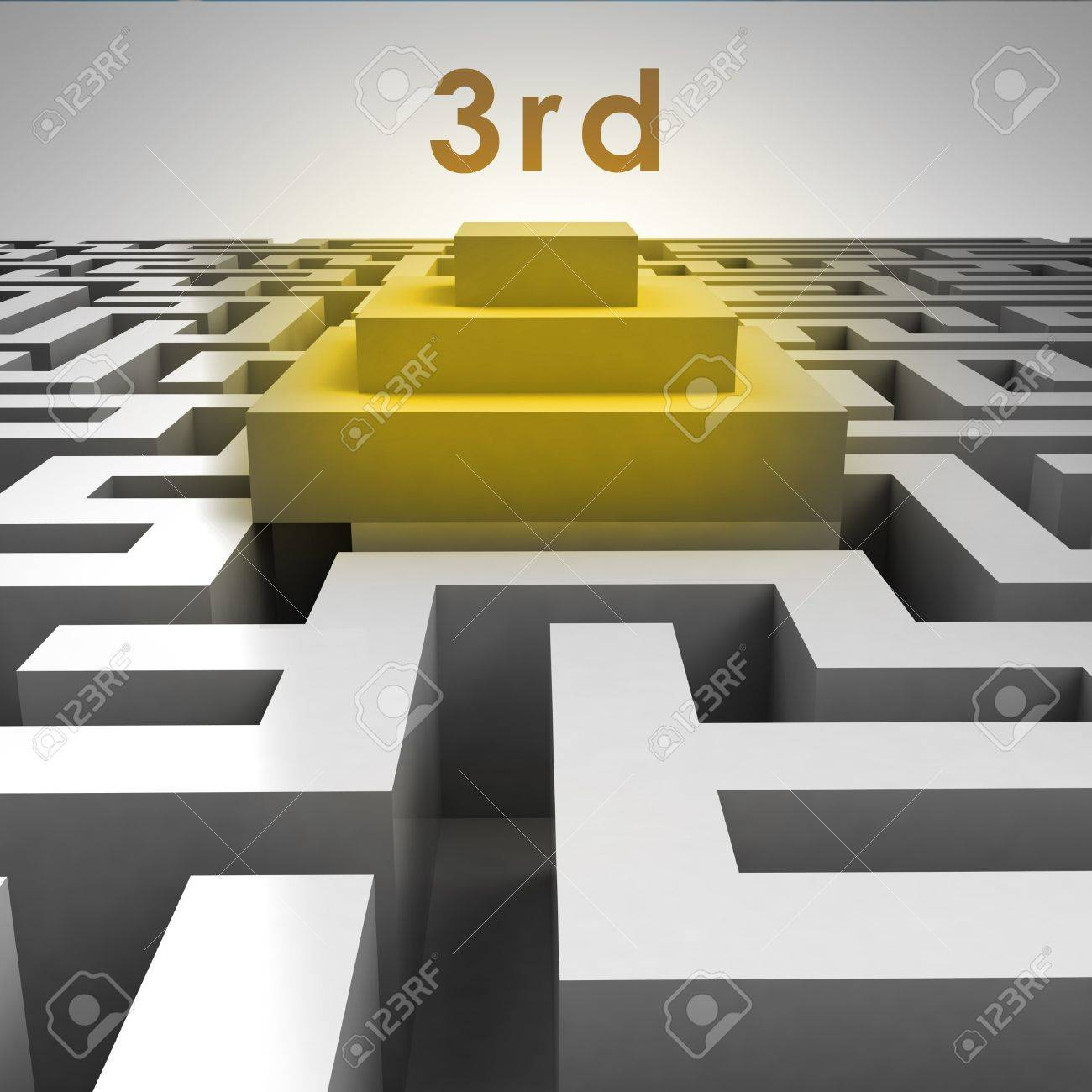 3D maze structure and third place podium illustration Stock Illustration - 17369844