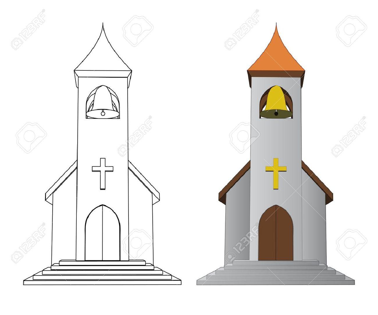 Couleur Et L église Dessin Au Trait Avec Illustration Vectorielle