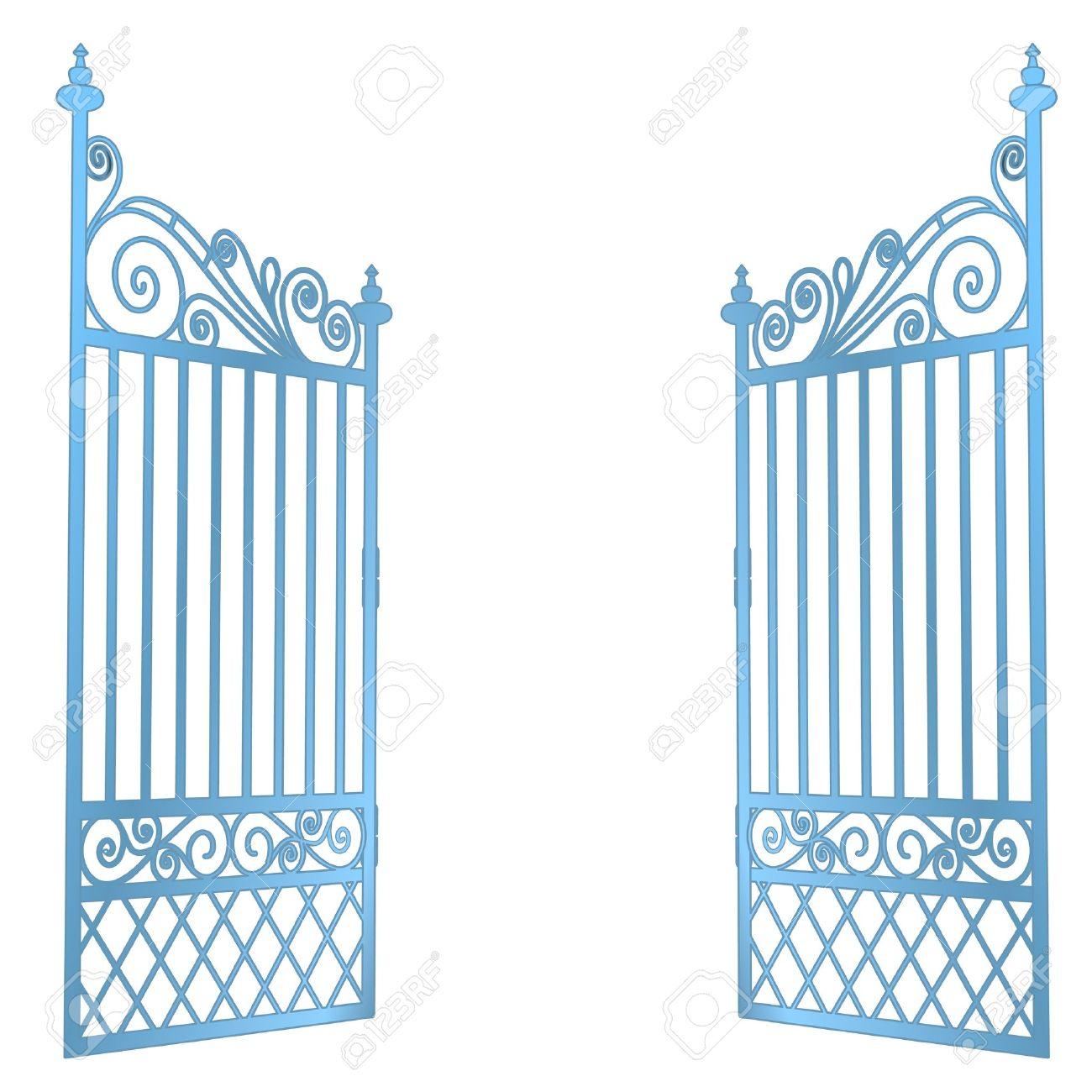 isolated steel decorated baroque open gate vector illustration