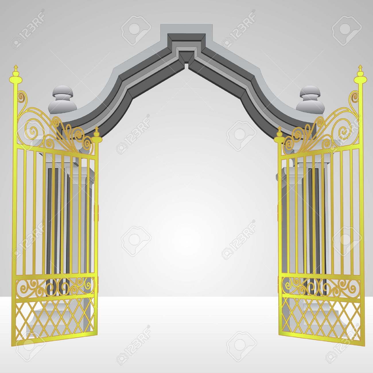 heavenly gate with open gold fence vector illustration royalty free