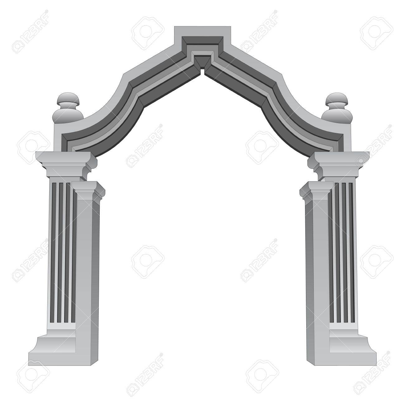 marble stone baroque entrance gate frame vector illustration Stock Vector - 18555063