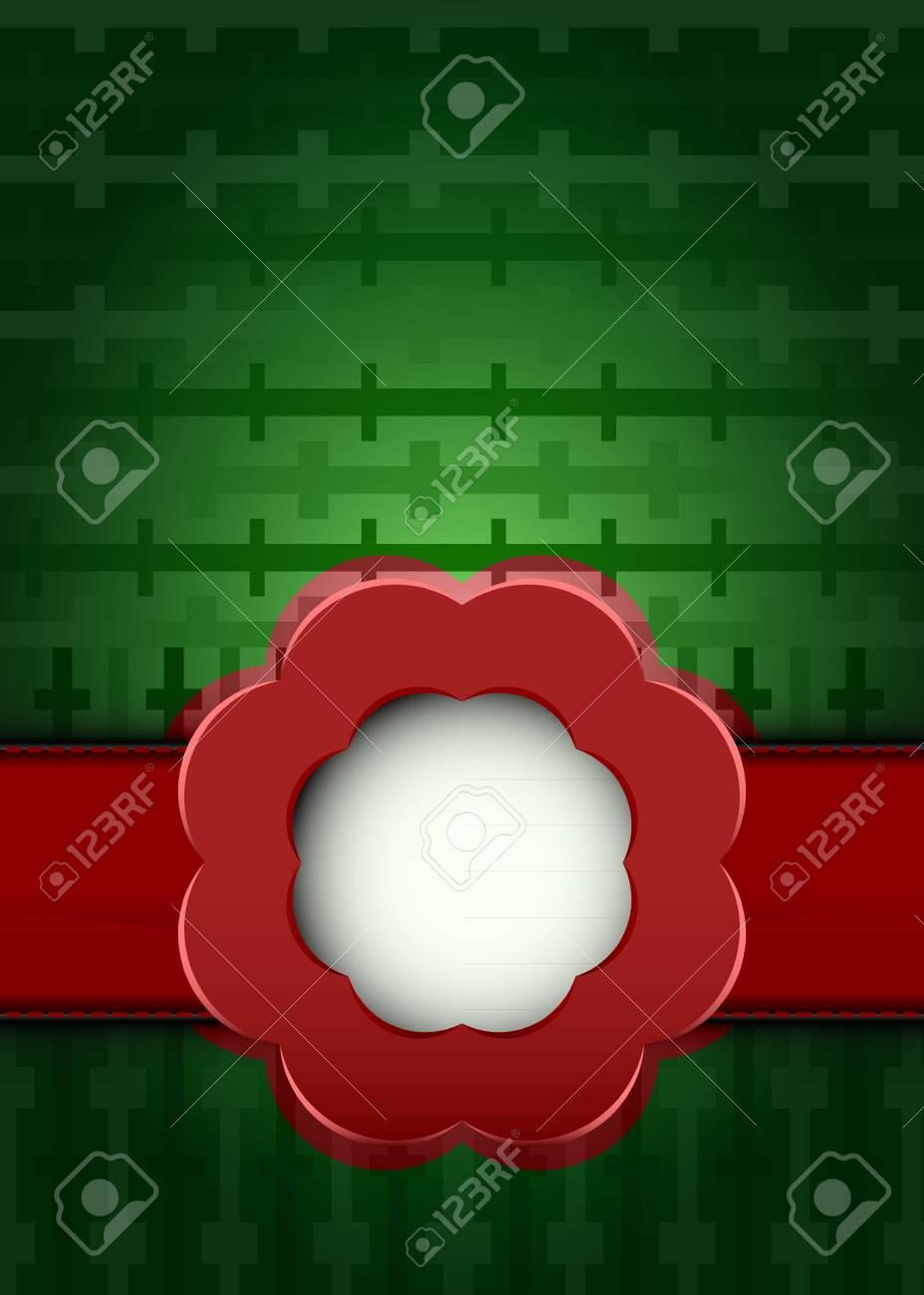 geometric dark grid with red ribbon blossom illustration Stock Vector - 18827950