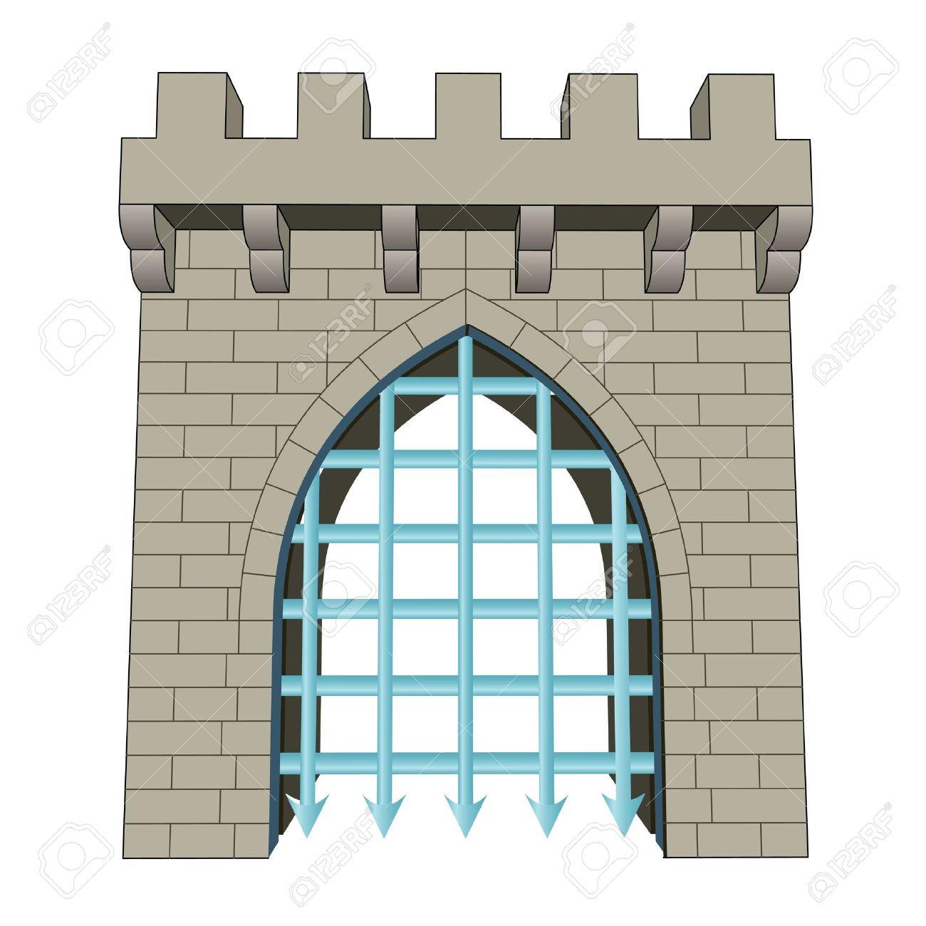 Isolerade medeltida stängd grind vektor illustration royalty fri ...