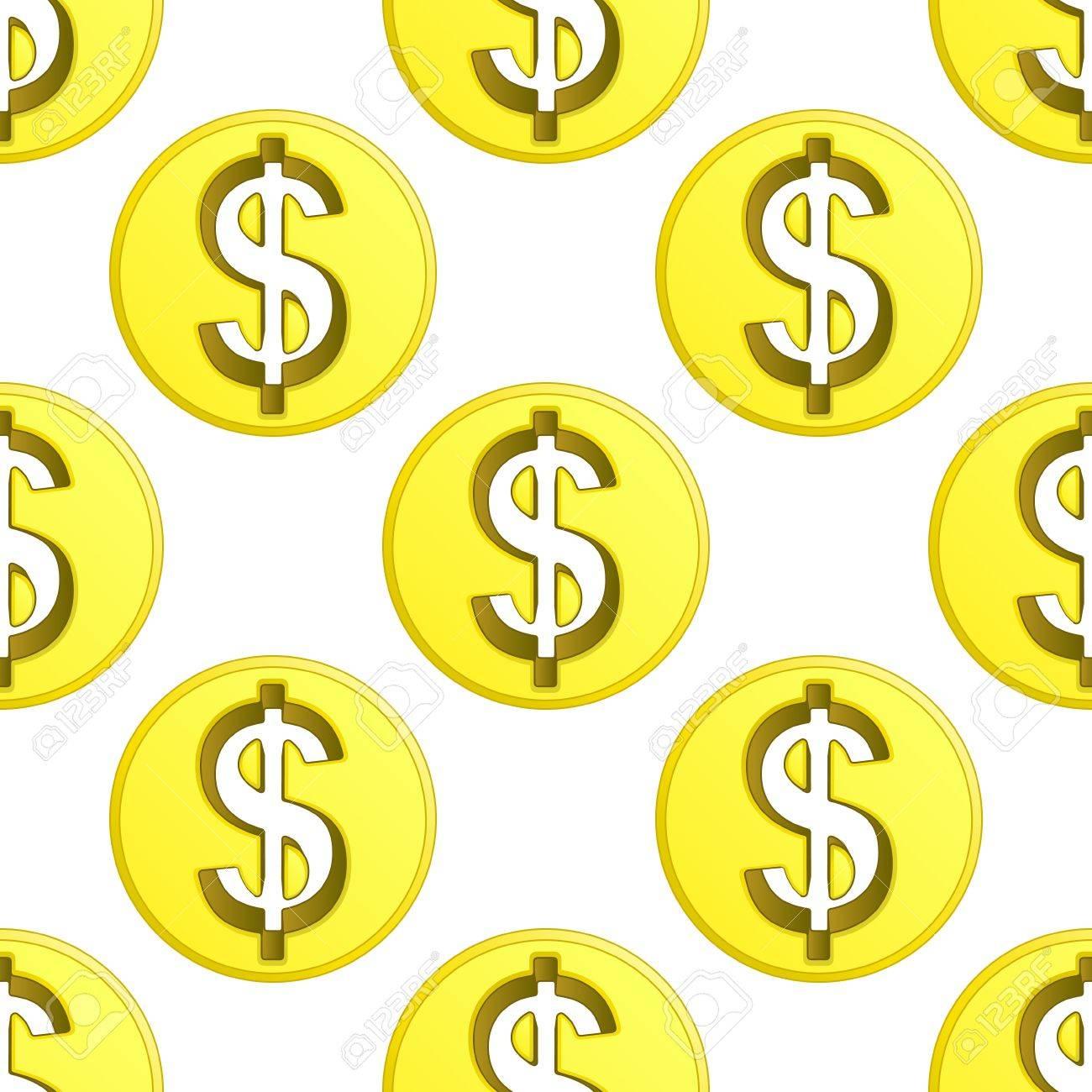dollar golden coin symbol pattern tile illustration Stock Vector - 18827915